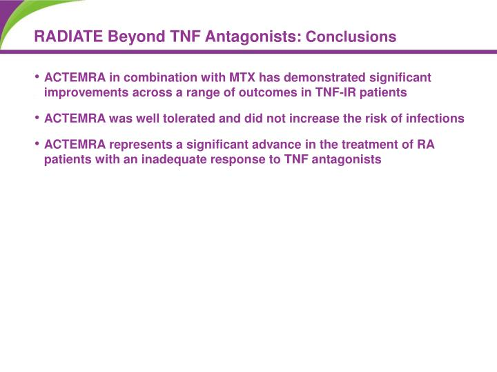 ACTEMRA in combination with MTX has demonstrated significant improvements across a range of outcomes in TNF-IR patients