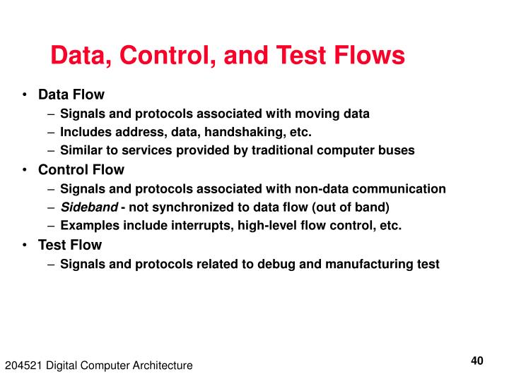 Data, Control, and Test Flows