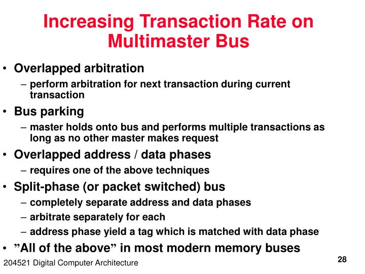 Increasing Transaction Rate on Multimaster Bus