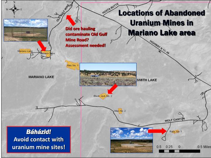Locations of Abandoned Uranium Mines in Mariano Lake area