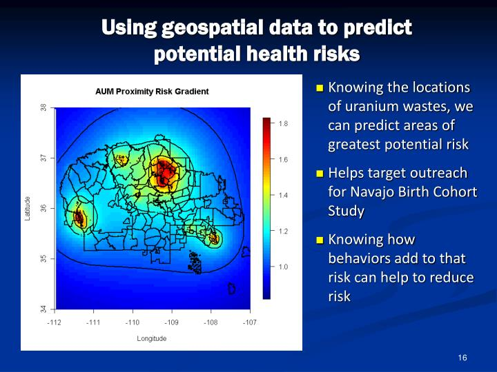 Using geospatial data to predict potential health risks