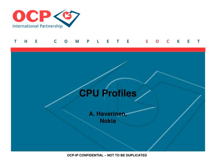Cpu profiles a haverinen nokia