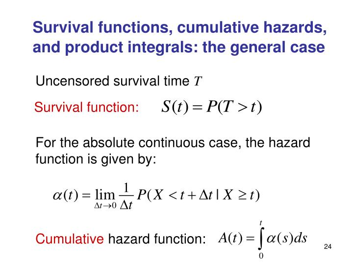 Survival functions, cumulative hazards, and product integrals: the general case