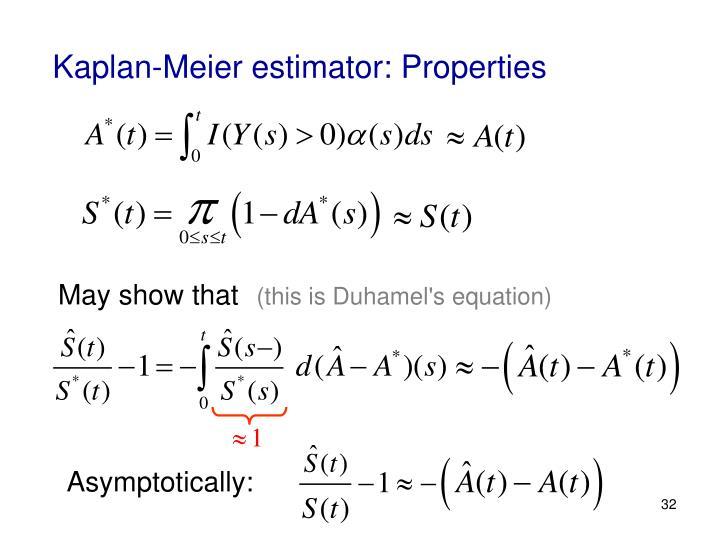 Kaplan-Meier estimator: Properties
