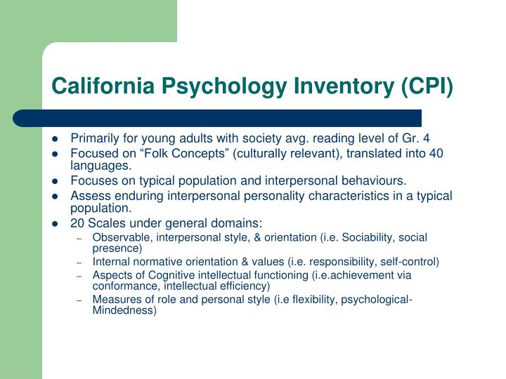 California Psychology Inventory (CPI)
