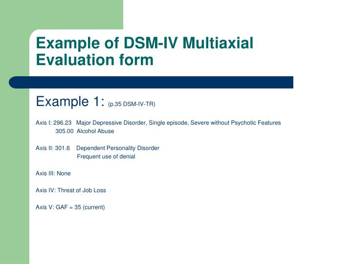 Example of DSM-IV Multiaxial Evaluation form