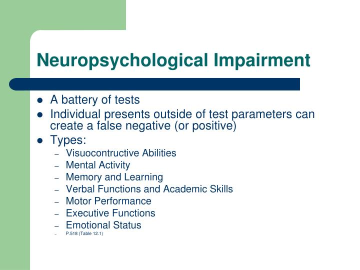 Neuropsychological Impairment