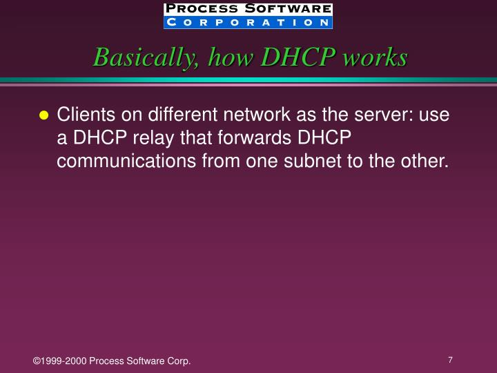 Basically, how DHCP works