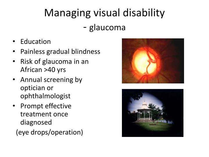 Managing visual disability