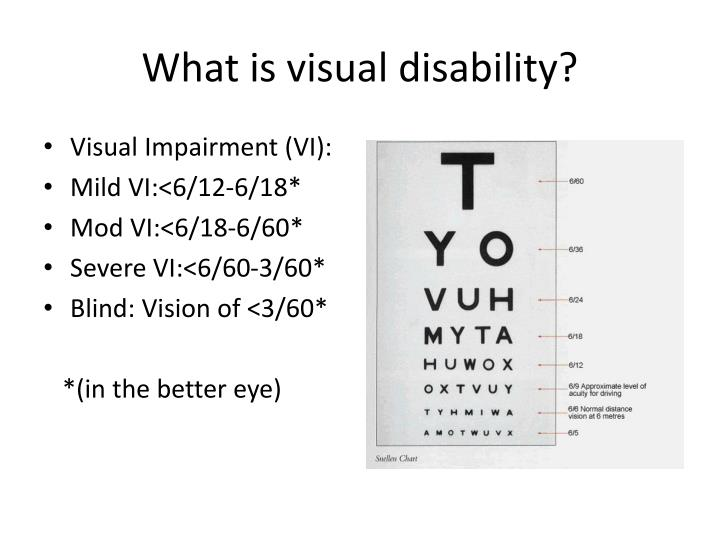 What is visual disability?