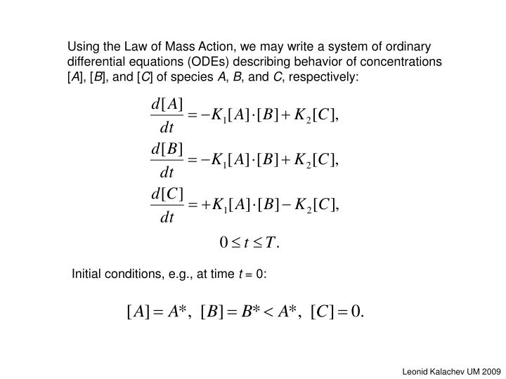Initial conditions, e.g., at time