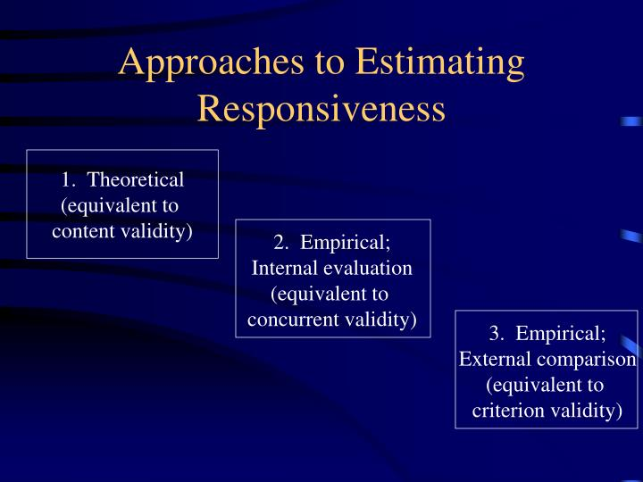Approaches to Estimating Responsiveness