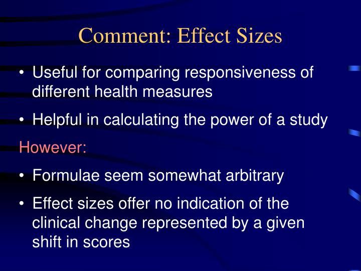 Comment: Effect Sizes