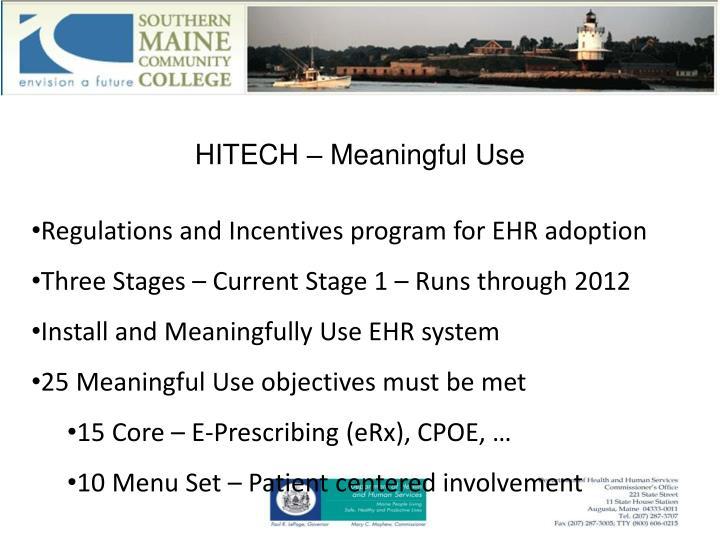 HITECH – Meaningful Use