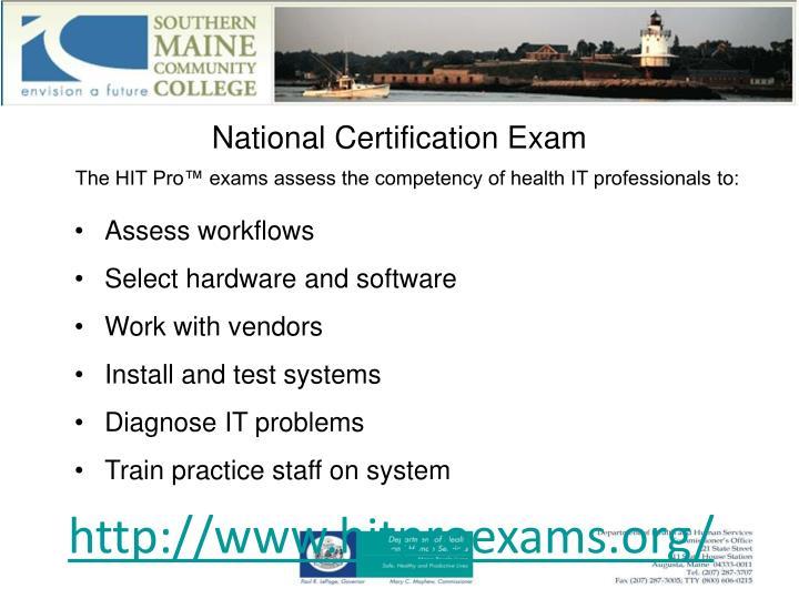 National Certification Exam