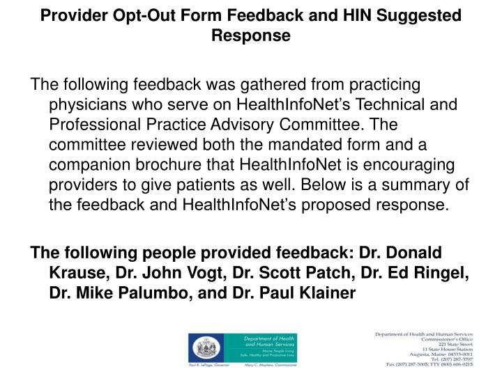 Provider Opt-Out Form Feedback and HIN Suggested Response