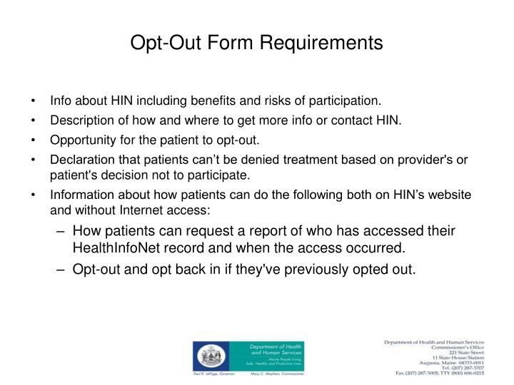 Opt-Out Form Requirements