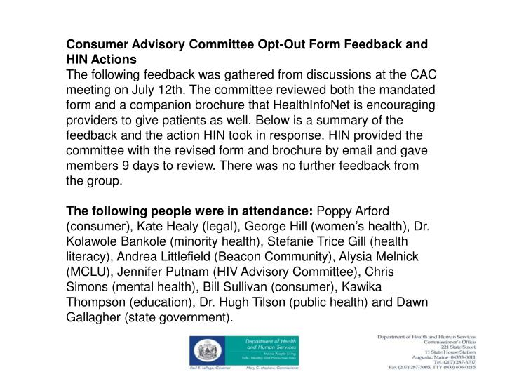 Consumer Advisory Committee Opt-Out Form Feedback and HIN Actions