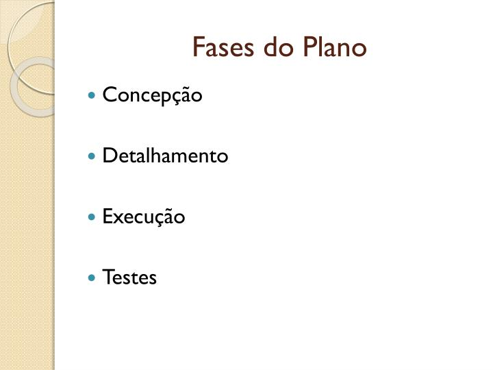 Fases do Plano