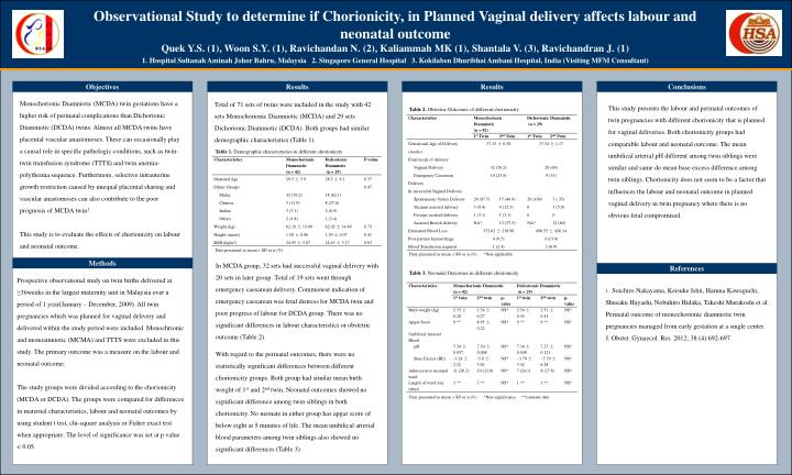 Observational Study to determine if Chorionicity, in Planned Vaginal delivery affects labour and neonatal outcome