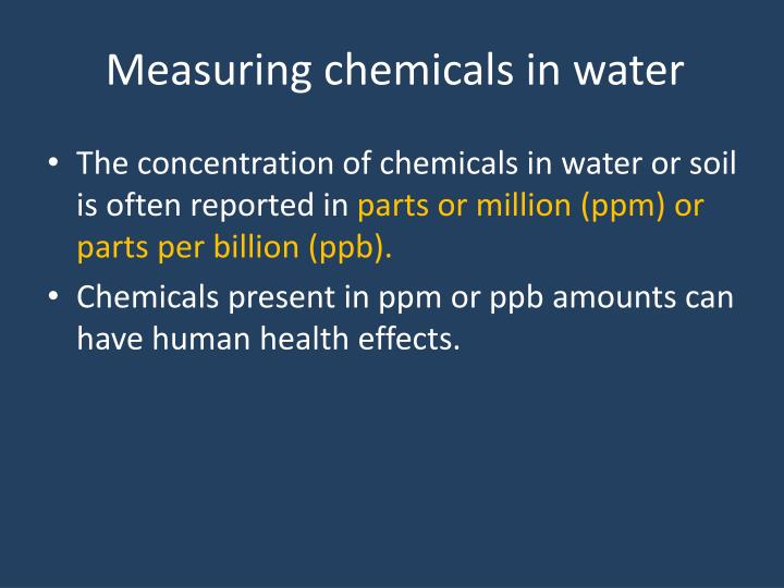 Measuring chemicals in water