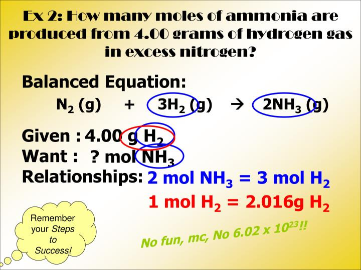 Ex 2: How many moles of ammonia are produced from 4.00 grams of hydrogen gas in excess nitrogen?