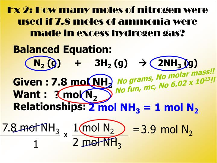 Ex 2: How many moles of nitrogen were used if 7.8 moles of ammonia were made in excess hydrogen gas?