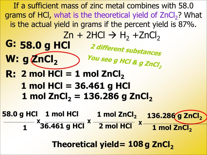 If a sufficient mass of zinc metal combines with 58.0 grams of HCl,
