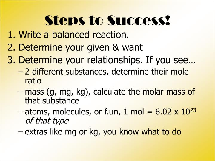 Steps to Success!