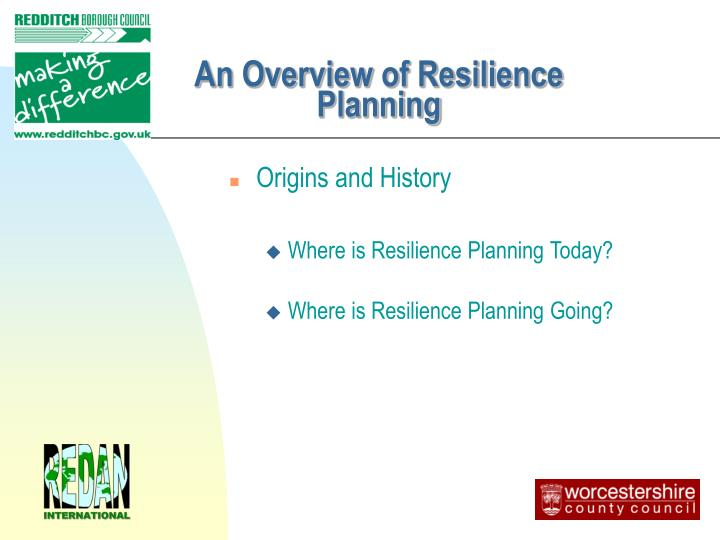 An Overview of Resilience Planning