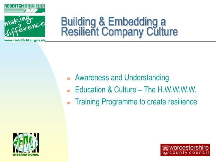 Building & Embedding a Resilient Company Culture