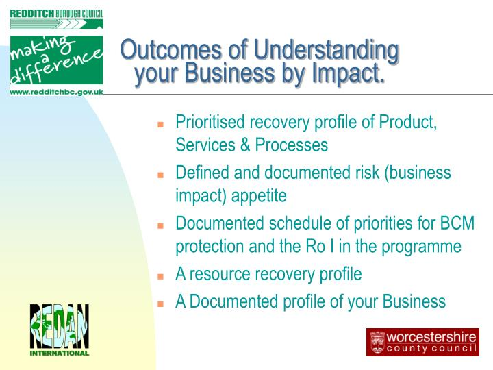 Outcomes of Understanding your Business by Impact.
