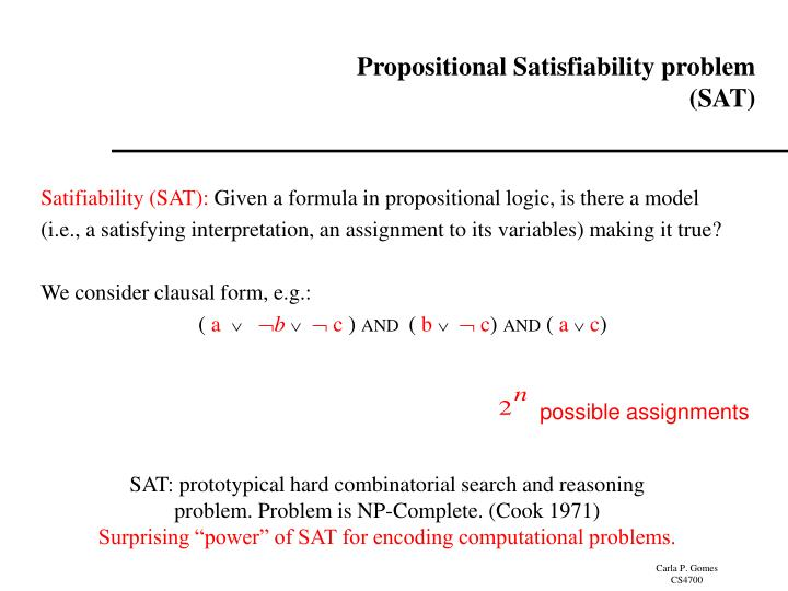 Propositional Satisfiability problem