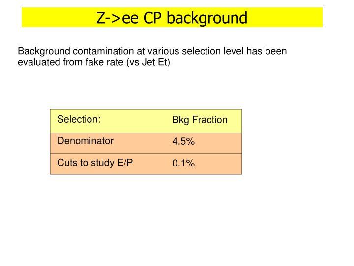 Z->ee CP background