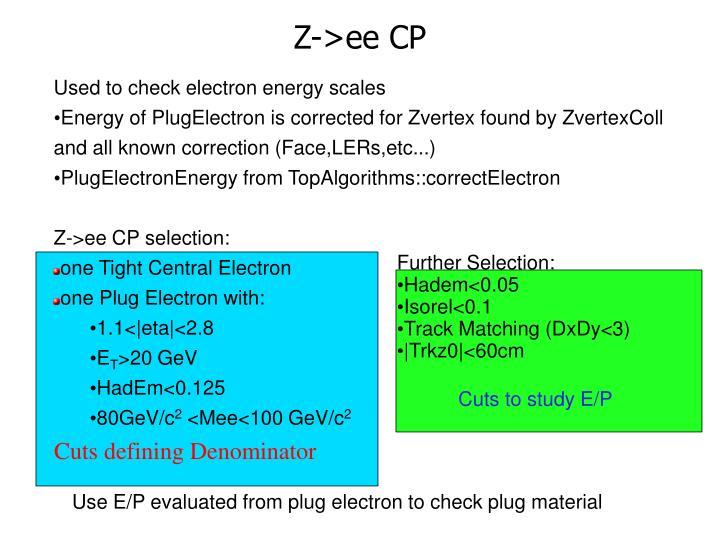 Z->ee CP