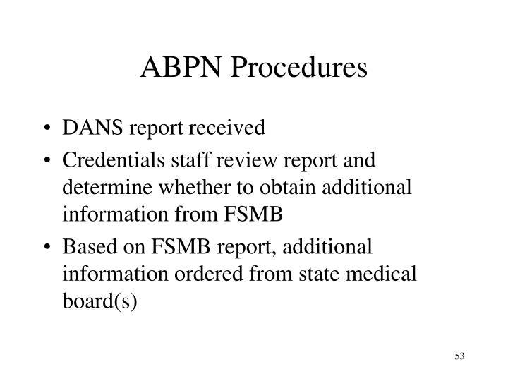 ABPN Procedures