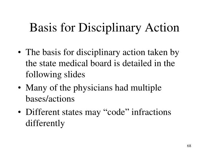 Basis for Disciplinary Action