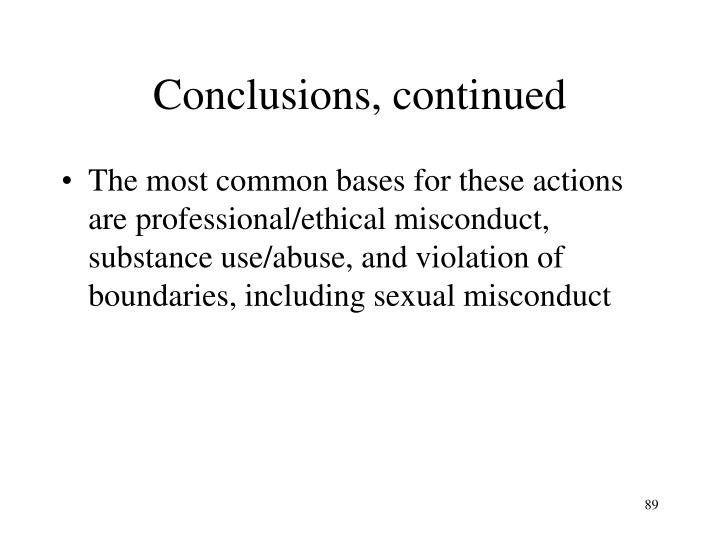 Conclusions, continued
