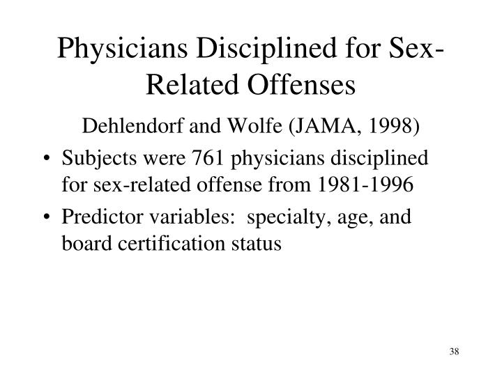 Physicians Disciplined for Sex-Related Offenses