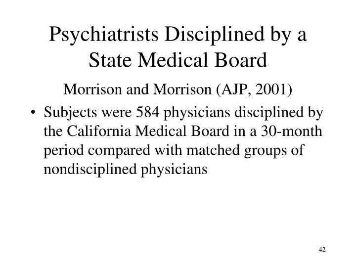 Psychiatrists Disciplined by a State Medical Board