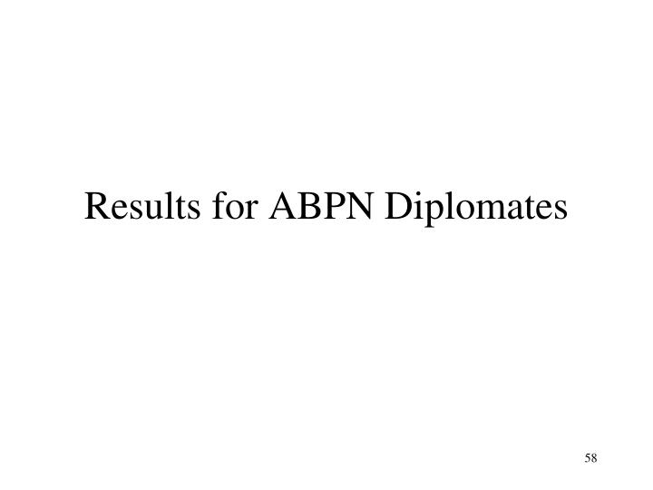Results for ABPN Diplomates