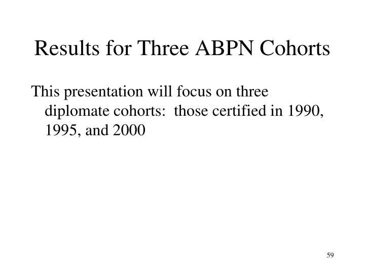 Results for Three ABPN Cohorts