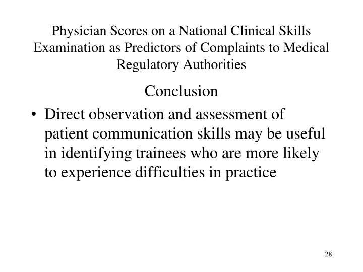Physician Scores on a National Clinical Skills Examination as Predictors of Complaints to Medical Regulatory Authorities