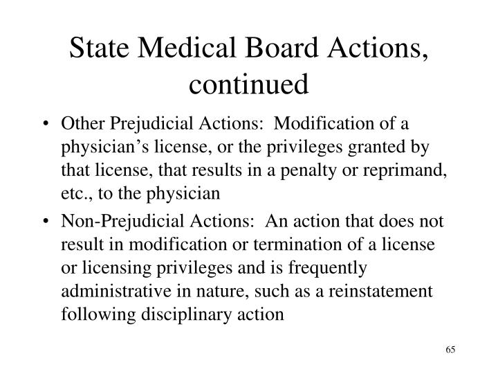 State Medical Board Actions, continued