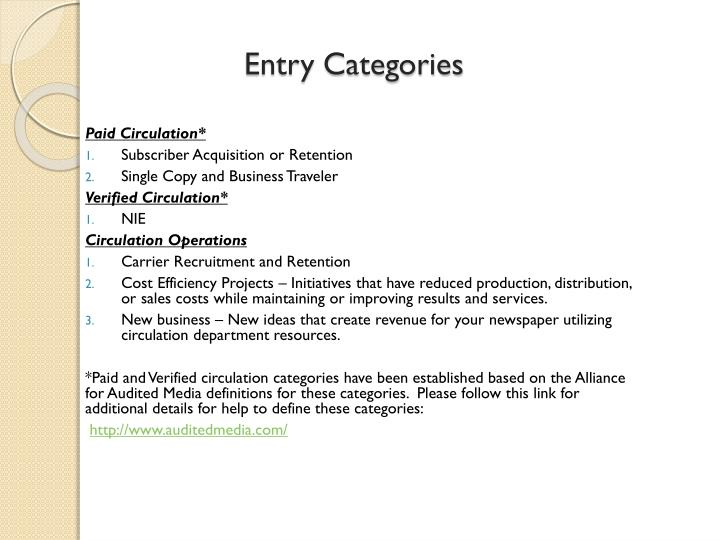 Entry Categories