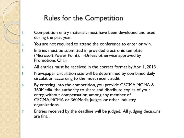 Rules for the Competition