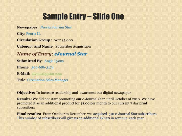 Sample Entry – Slide One