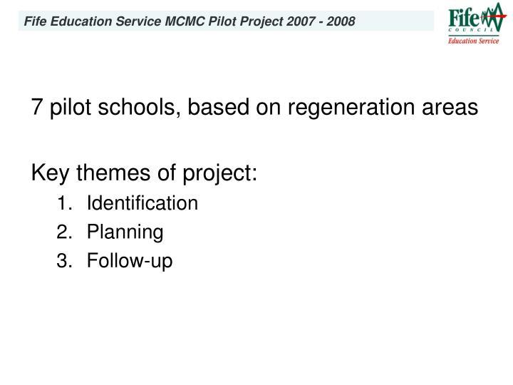 7 pilot schools, based on regeneration areas