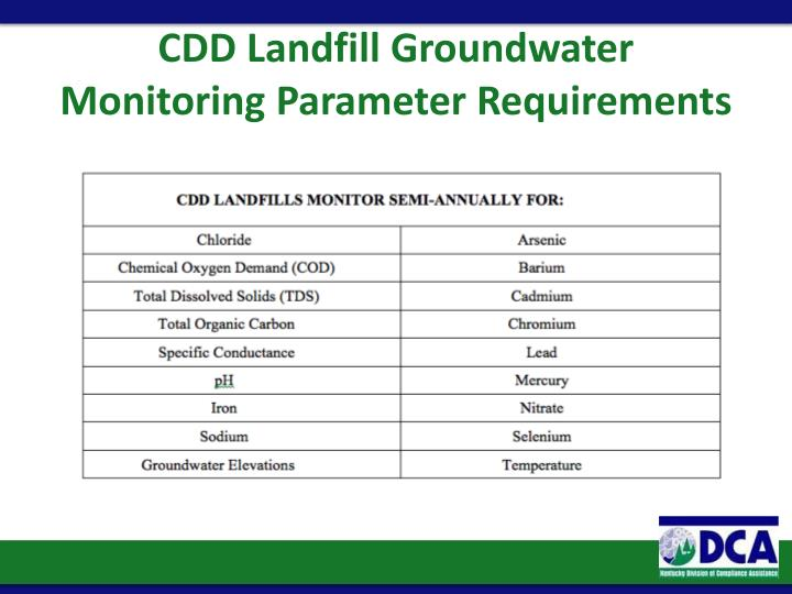 CDD Landfill Groundwater