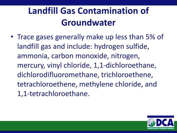 Landfill Gas Contamination of Groundwater